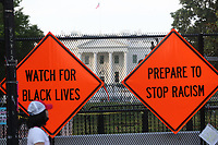 WASHINGTON D.C. - JUNE 27: View of Black Lives Matters Plaza with signs reading 'Watch For Black Lives' and 'Prepare To Stop Racism' in Advance of Another Busy Weekend in Washington D.C. on June 27, 2020. <br /> CAP/MPI43<br /> ©MPI43/Capital Pictures