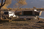 Campers at Diaz Lake County Park, Lone Pine, California