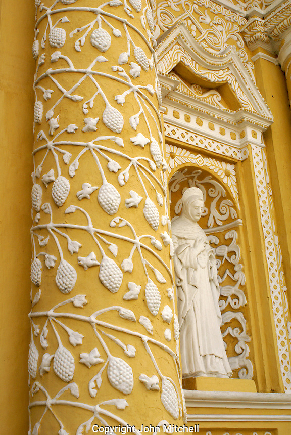 Detail of baroque facade of La Merced Church in Antigua, Guatemala. Antigua is a UNESCO World heritage site...