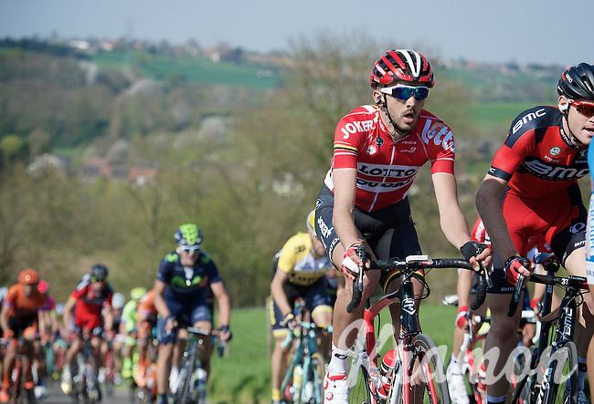 an already bruised Jelle Vanendert (BEL/Lotto-Soudal) up the very steep Keutenberg (22%)<br /> <br /> 50th Amstel Gold Race 2015