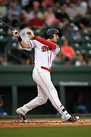 Left fielder Jordan Wren (5) of the Greenville Drive follows through on a swing during a game against the Lexington Legends on Sunday, September 2, 2018, at Fluor Field at the West End in Greenville, South Carolina. Greenville won, 7-4. (Tom Priddy/Four Seam Images)
