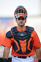 Richmond Flying Squirrels catcher Aramis Garcia (14) walks to the dugout before a game against the Trenton Thunder on May 11, 2018 at The Diamond in Richmond, Virginia.  Richmond defeated Trenton 6-1.  (Mike Janes/Four Seam Images)