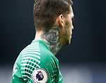 Ederson of Manchester City and his neck tattoo during the premier league match at the Etihad Stadium, Manchester. Picture date 22nd September 2017. Picture credit should read: Simon Bellis/Sportimage