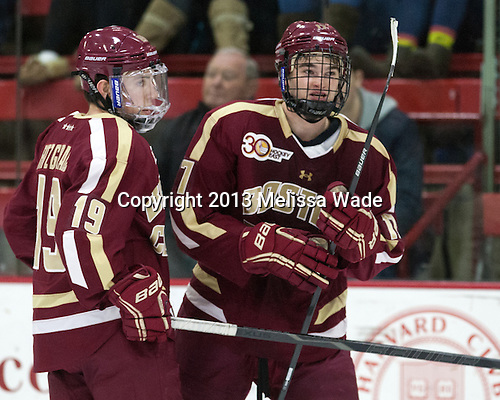 Ryan Fitzgerald (BC - 19), Destry Straight (BC - 17) - The visiting Boston College Eagles defeated the Harvard University Crimson 5-1 on Wednesday, November 20, 2013, at Bright-Landry Hockey Center in Cambridge, Massachusetts.