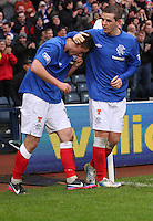 Fraser Aird celebrates scoring and receives credit from David Templetonthe winner in the Queen's Park v Rangers Irn-Bru Scottish League Division Three match played at Hampden Park, Glasgow on 29.12.12.