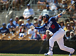 Los Angeles Dodgers' Justin Turner hits against the Arizona Diamondback in a spring training game in Glendale, Ariz., on Friday, March 24, 2017.<br /> Photo by Cathleen Allison/Nevada Photo Source