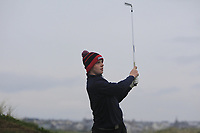 Annraoi Collins (Laytown &amp; Bettystown) on the 1st tee during Round 2 of the Ulster Boys Championship at Portrush Golf Club, Portrush, Co. Antrim on the Valley course on Wednesday 31st Oct 2018.<br /> Picture:  Thos Caffrey / www.golffile.ie<br /> <br /> All photo usage must carry mandatory copyright credit (&copy; Golffile | Thos Caffrey)