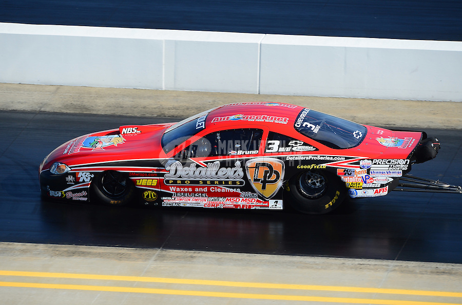 Apr. 14, 2012; Concord, NC, USA: NHRA competition eliminator driver Bruno Massel during qualifying for the Four Wide Nationals at zMax Dragway. Mandatory Credit: Mark J. Rebilas-
