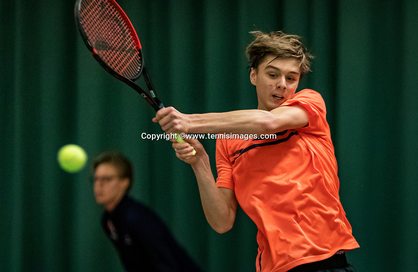 Wateringen, The Netherlands, December 1,  2019, De Rhijenhof , NOJK 12 and16 years, Final boys 16 years: Brian Bozemoj (NED)<br /> Photo: www.tennisimages.com/Henk Koster