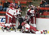 Landon Bathe, Alex Killorn (Harvard - 19), Daniel Moriarty (Harvard - 11), Kevin McNamara (Colgate - 10), Martin Hughes, Austin Mayer (Colgate - 19), Ryan Grimshaw (Harvard - 6), ?, Nick Prockow (Colgate - 21), Marshall Everson (Harvard - 21) - The Harvard University Crimson defeated the visiting Colgate University Raiders 4-2 on Saturday, November 12, 2011, at Bright Hockey Center in Cambridge, Massachusetts.