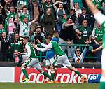 13.05.2018 Hibs v Rangers: Jamie Maclaren celebrates his last gasp equaliser for Hibs
