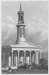 New Church, Regent Square Sidmouth Street, engraving from 'Metropolitan Improvements, or London in the Nineteenth Century' London, England, UK 1828 , drawn by Thomas H Shepherd