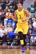 Washington, DC - August 17, 2018: Los Angeles Sparks forward Candace Parker (3) brings the ball up court during game between the Washington Mystics and Los Angeles Sparks at the Capital One Arena in Washington, DC. (Photo by Phil Peters/Media Images International)