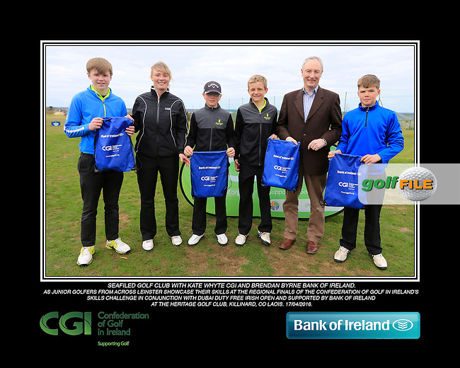 Seafield Golf Club boys With Kate Wright CGI and Brendan Byrne Bank of Ireland.<br /> Junior golfers from across Leinster practicing their skills at the regional finals of the Dubai Duty Free Irish Open Skills Challenge supported by Bank of Ireland at the Heritage Golf Club, Killinard, Co Laois. 2/04/2016.<br /> Picture: Golffile | Fran Caffrey<br /> <br /> <br /> All photo usage must carry mandatory copyright credit (&copy; Golffile | Fran Caffrey)