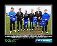 Seafield Golf Club boys With Kate Wright CGI and Brendan Byrne Bank of Ireland.<br /> Junior golfers from across Leinster practicing their skills at the regional finals of the Dubai Duty Free Irish Open Skills Challenge supported by Bank of Ireland at the Heritage Golf Club, Killinard, Co Laois. 2/04/2016.<br /> Picture: Golffile | Fran Caffrey<br /> <br /> <br /> All photo usage must carry mandatory copyright credit (© Golffile | Fran Caffrey)