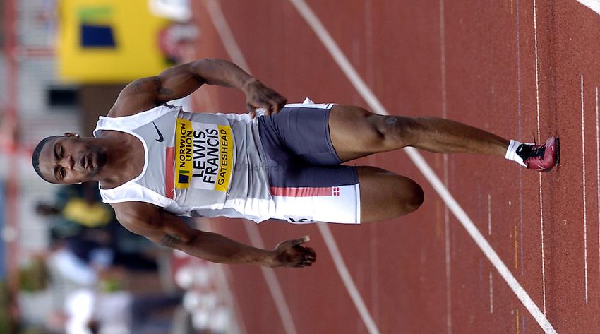 Photo. Richard Lane..Norwich Union British Grand Prix at Gateshead International. 27/06/2004..Mark Lewis-Francis competes in the mens 100m.