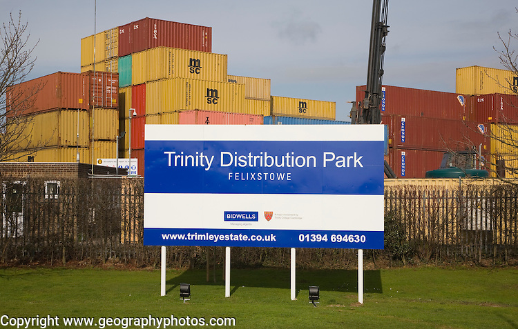 Stacked containers at Trinity Distribution Park, Port of Felixstowe, Suffolk, England