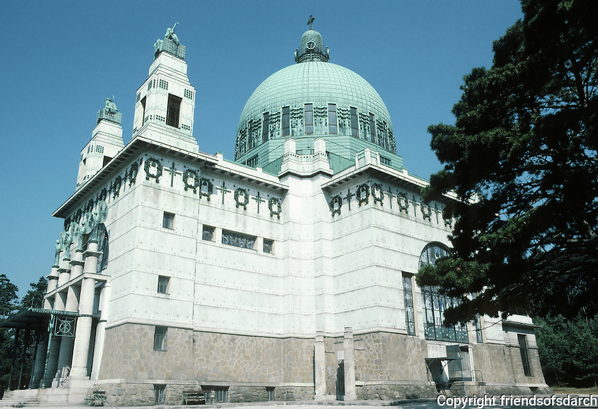 Otto Wagner: Church AM Steinhof, Vienna, 1904-07.  Southern 3/4 elevation.