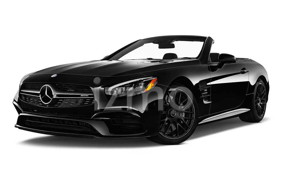 Stock pictures of low aggressive front three quarter view of 2017 Mercedes Benz SL AMG 63 2 Door Convertible