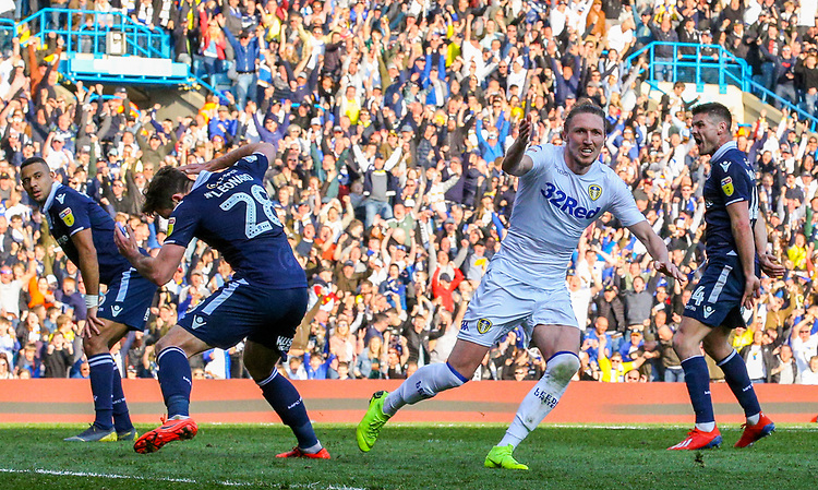 Leeds United's Luke Ayling celebrates after scoring his side's second goal <br /> <br /> Photographer Alex Dodd/CameraSport<br /> <br /> The EFL Sky Bet Championship - Leeds United v Millwall - Saturday 30th March 2019 - Elland Road - Leeds<br /> <br /> World Copyright © 2019 CameraSport. All rights reserved. 43 Linden Ave. Countesthorpe. Leicester. England. LE8 5PG - Tel: +44 (0) 116 277 4147 - admin@camerasport.com - www.camerasport.com