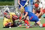 Mannheim, Germany, September 27: During the 1. Bundesliga Damen Saison 2014/15 field hockey match between Mannheimer HC and TSV Mannheim on September 27, 2014  Mannheimer Hockey Club in Mannheim, Germany. Final score 3-3 (2-3). (Photo by Dirk Markgraf / www.265-images.com) *** Local caption *** Friederike Schreiber (TW) of TSV Mannheim, Lydia Haase #12 of Mannheimer HC,  Tanja Fabig #31 of TSV Mannheim