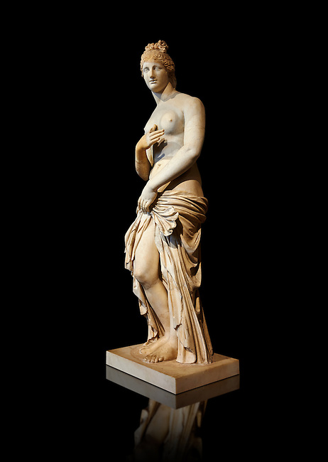 This 2nd to 3rd century Italian marble statue of Venus (Aphrodite) is the result of a fit between the bottom of an ancient body, a torso of the XVI century and an ancient face and top of head. The statue follows the style of a modest Aphrodite, known by other Roman replicas are copies of 3rd century BC Hellanistic Greek statues now lost.<br /> Borghese collection, Louvre Museum, Paris. Inv No. MR. 279 (Usual No Ma 369)