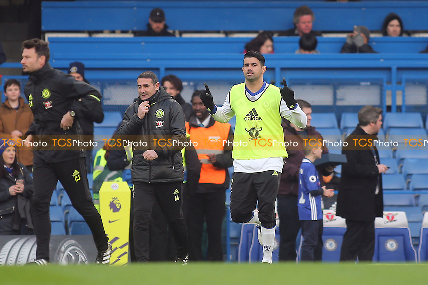 Chelsea's Diego Costa runs onto the pitch for the pre-match warm up during Chelsea vs Hull City, Premier League Football at Stamford Bridge on 22nd January 2017