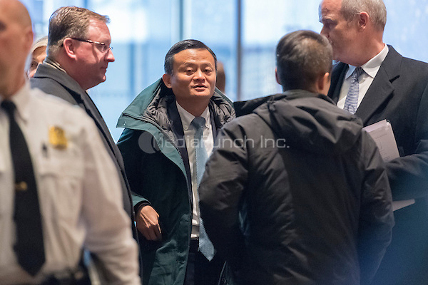 Jack Ma, Founder and Executive Chairman of Alibaba, is seen is seen upon his arrival at Trump Tower for a meeting with President-elect Trump, in New York, NY, USA on January, 9, 2017. <br /> Credit: Albin Lohr-Jones / Pool via CNP /MediaPunch