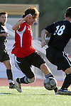 Palos Verdes, CA 02/03/12 - Andrew Geber (Palos Verdes #7) and Nobu Nakagawa (Peninsula #18) in action during the Peninsula vs Palos Verdes boys varsity soccer game.
