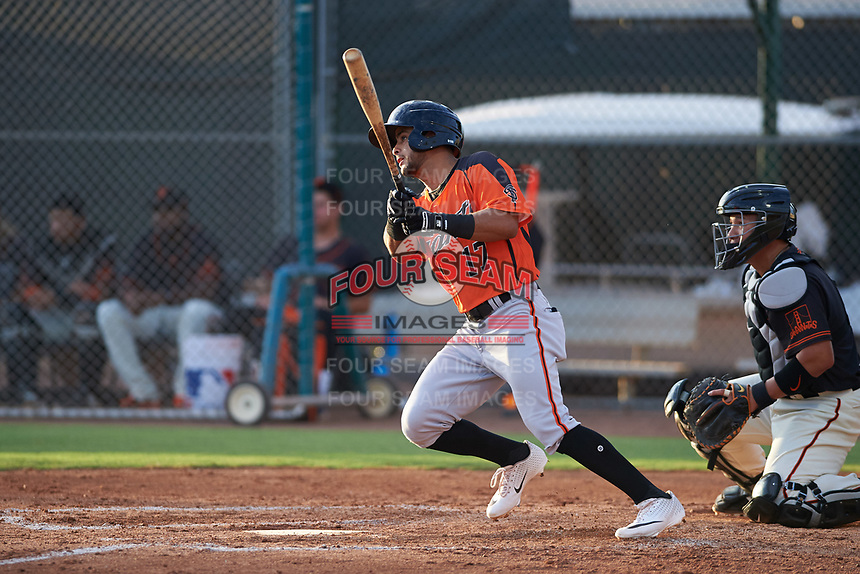 AZL Giants Orange Enoc Watts (17) at bat during an Arizona League game against the AZL Giants Black on July 19, 2019 at the Giants Baseball Complex in Scottsdale, Arizona. The AZL Giants Black defeated the AZL Giants Orange 8-5. (Zachary Lucy/Four Seam Images)