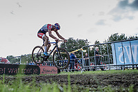leader Mathieu van de Poel (NED/Beobank Corendon) bunnyhopping the beams.<br /> <br /> cx Telenet Superprestige Gieten 2017 (NED)