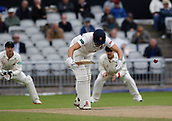 7th September 2017, Emirates Old Trafford, Manchester, England; Specsavers County Championship, Division One; Lancashire versus Essex; Nick Browne of Essex is struck on the pads by Ryan McLaren of Lancashire but survives the appeal for lbw
