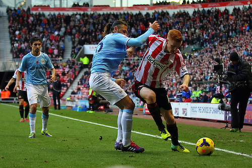 10.11.2013 Sunderland, England. Jack Colback in action  during the Premier League game between Sunderland and Manchester City from the Stadium of Light.