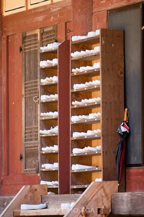 Songgwangsa temple. Monks' shoees.