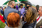 ARCADIA, CA - MARCH 10: Trainer Mick Ruis is interviewed by the media after winning the San Felipe Stakes at Santa Anita Park on March 10, 2018 in Arcadia, California.(Photo by Alex Evers/Eclipse Sportswire/Getty Images)