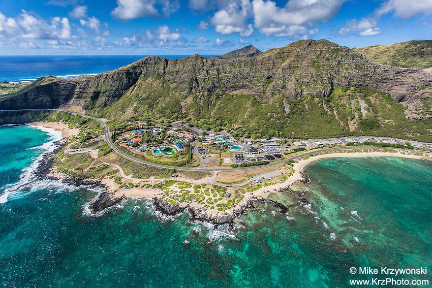 Aerial view of Sea Life Park, Makapuu, Oahu