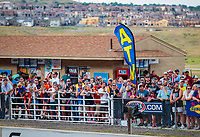 Jul 20, 2018; Morrison, CO, USA; NHRA fans in the grandstands and crowd during qualifying for the Mile High Nationals at Bandimere Speedway. Mandatory Credit: Mark J. Rebilas-USA TODAY Sports