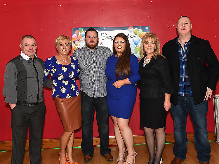 Lee McQuillan and Ashlean Burke celebrating their engagement in Garvey's with lee's parents Mark and Bridain and Ashlean's parents Laurence and Maureen. Photo:Colin Bell/pressphotos.ie
