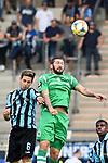 05.08.2019, Carl-Benz-Stadion, Mannheim, GER, 3. Liga, SV Waldhof Mannheim vs. TSV 1860 Muenchen, <br /> <br /> DFL REGULATIONS PROHIBIT ANY USE OF PHOTOGRAPHS AS IMAGE SEQUENCES AND/OR QUASI-VIDEO.<br /> <br /> im Bild: Marco Schuster (SV Waldhof Mannheim #6) gegen Sascha M?lders / Moelders (TSV 1860 Muenchen #9)<br /> <br /> Foto © nordphoto / Fabisch