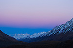 Mountain range at dusk, Sarychat-Ertash Strict Nature Reserve, Tien Shan Mountains, eastern Kyrgyzstan