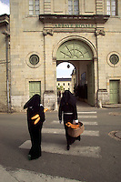 Nuns go shopping from Fontenvreau Abbey. La Loire region of France...MR
