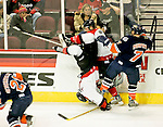 Dec 25 2004 Las Vegas Nevada USA Las Vegas Wranglers defeated by San Diego Gulls 1-0 at the Orleans Arena.  #77 Ryan Gaucher takes a hip check and lands on his head. He was  taken to the hospital for routine observation after the game.Larry Burton.