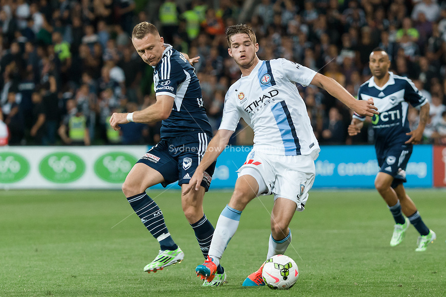 Connor CHAPMAN of Melbourne City controls the ball in round 11 A-League match between Melbourne City and Melbourne Victory at AAMI Park in Melbourne, Australia during the 2014/2015 Australian A-League season. City def Victory 1-0