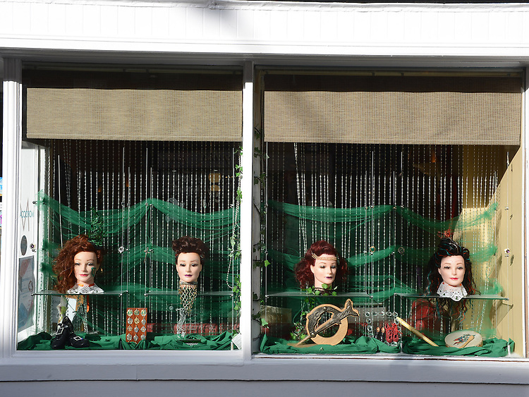 The window of Sapphir Hairdressers on Laurence street for the visit of Fleadh Ceol Ard Comhairle to assess Drogheda in its bid to host the Fleadh Ceol 2015. Photo:Colin Bell/pressphotos.ie