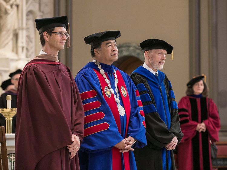 Jeffrey Bethke, executive vice president, A. Gabriel Esteban, Ph.D., president and Marten denBoer, provost, (left to right) watch as<br />