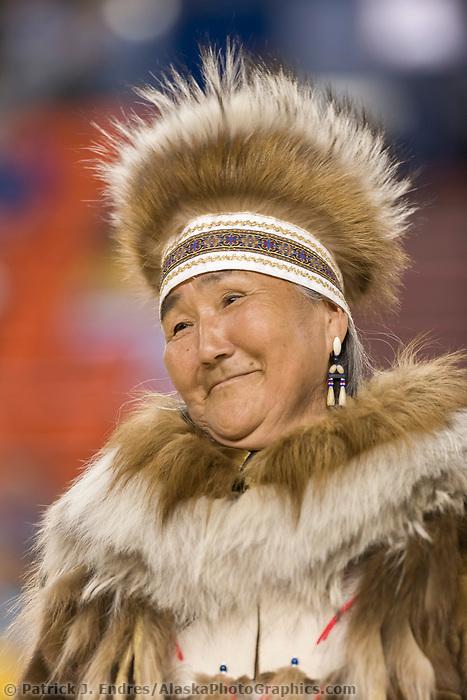 Marie Meaded, Yupik Parka, Eskimo and Indian Regalia contest at the 2007 World Eskimo Indian Olympics held in Anchorage, Alaska.