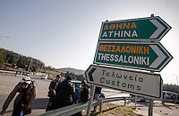 Pictured: The Athens and Salonica signs on the national road them Tuesday 23 February 2016<br /> Re: Migrants trying to cross the Greek-FYRO Macedonian border, were turned away by the authorities in Idomeni, Greece.