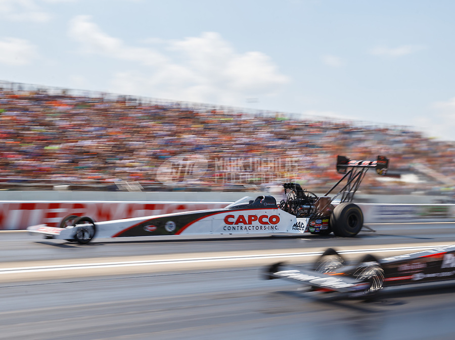 Aug 19, 2017; Brainerd, MN, USA; NHRA top fuel driver Steve Torrence during qualifying for the Lucas Oil Nationals at Brainerd International Raceway. Mandatory Credit: Mark J. Rebilas-USA TODAY Sports
