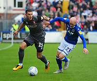 Lincoln City's James Wilson vies for possession with Macclesfield Town's Danny Whittaker<br /> <br /> Photographer Andrew Vaughan/CameraSport<br /> <br /> The EFL Sky Bet League One - Macclesfield Town v Lincoln City - Saturday 15th September 2018 - Moss Rose - Macclesfield<br /> <br /> World Copyright &copy; 2018 CameraSport. All rights reserved. 43 Linden Ave. Countesthorpe. Leicester. England. LE8 5PG - Tel: +44 (0) 116 277 4147 - admin@camerasport.com - www.camerasport.com