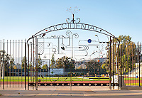 Los Angeles artist Heather McLarty's metal gate stands at the entrance to Patterson Field and Jack Kemp Stadium, October 1, 2013. The work depicts many different sports and is made of metal, glass and objects. It was built in late 2012. More information on Heather can be found here: www.steelcrazy.biz (Photo by Marc Campos, Occidental College Photographer)